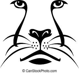logotipo, leone, silhouette, faccia