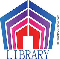 logotipo, libri, biblioteca