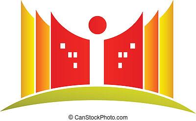 logotipo, libri, studente