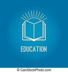 logotipo, libro, educazione, aperto