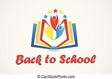 logotipo, libro, educazione, persone