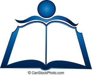 logotipo, libro, studente