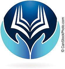 logotipo, libro, vettore, educazione