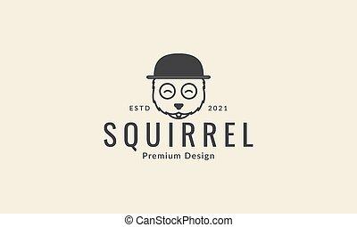logotipo, linea, grafico, icona, vettore, scoiattolo, disegno, simbolo, cappello, illustrazione