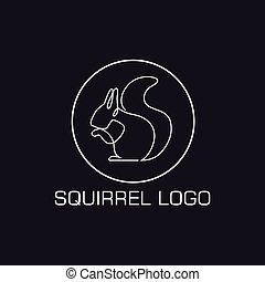 logotipo, linea, scoiattolo, uno