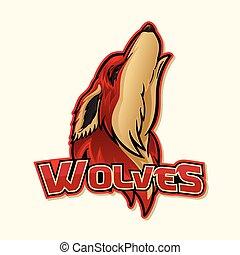 logotipo, lupo, colorito