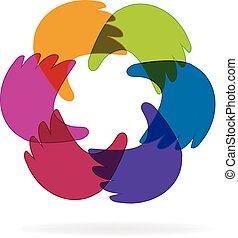 logotipo, mani affari