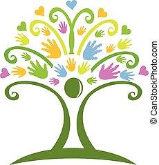 logotipo, mani, albero