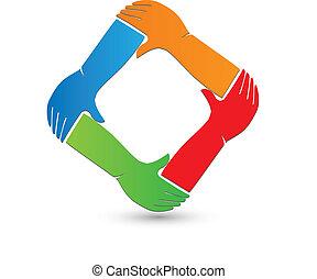 logotipo, mani, collegamento