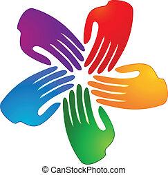 logotipo, mani, connettere, persone