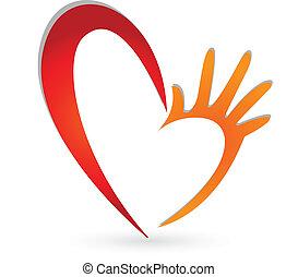 logotipo, mani, cuore