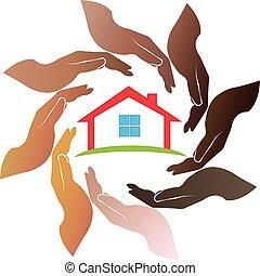 logotipo, mani, intorno, casa