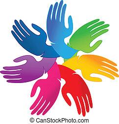 logotipo, mani, lavoro squadra, persone
