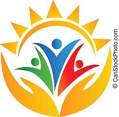logotipo, mani, lavoro squadra, sole