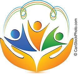 logotipo, mani, persone, collegamenti