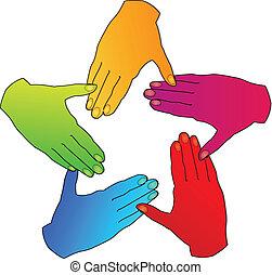 logotipo, mani, persone, diversità