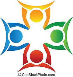 logotipo, mani, presa a terra, squadra