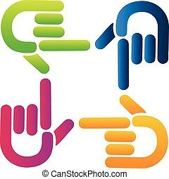 logotipo, mani, puntatore, lavoro squadra