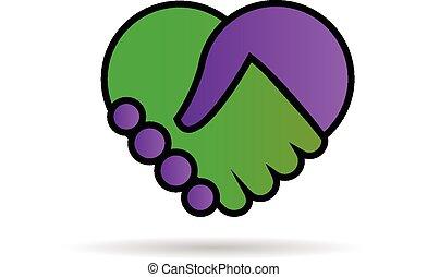 logotipo, mani, scuotere, amare cuore