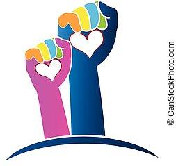 logotipo, mani