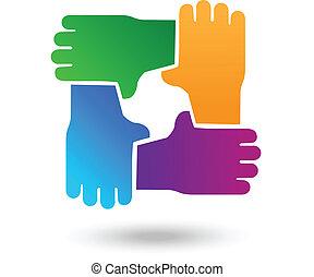 logotipo, mani, vettore, lavoro squadra, persone