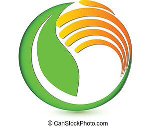 logotipo, mano, ambientale, protezione