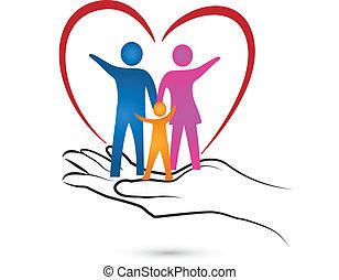 logotipo, mano, cuore, famiglia