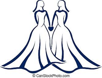 logotipo, matrimonio, stesso, sesso