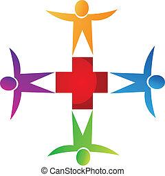logotipo, medico, lavoro squadra, persone