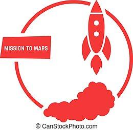 logotipo, missione, rosso, marte