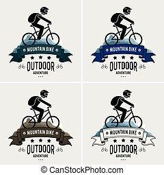 logotipo, montagna biking, design.