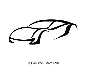 logotipo, nero, auto