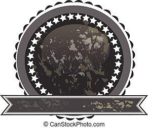 logotipo, nero, grunge, nastro, sigillo