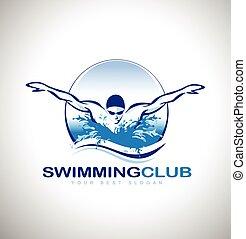 logotipo, nuoto