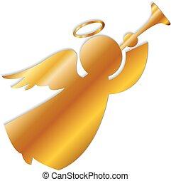 logotipo, oro, angelo