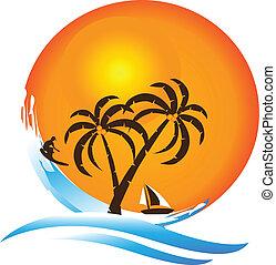 logotipo, paradiso tropicale, isola
