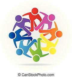 logotipo, persone, amicizia, comunità, lavoro squadra