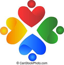 logotipo, persone, cuore