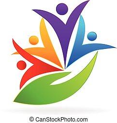logotipo, persone, cura