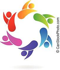 logotipo, persone, lavoro squadra, affari