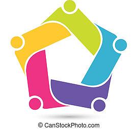 logotipo, persone, lavoro squadra, domanda