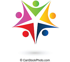 logotipo, persone, stella, swooshes