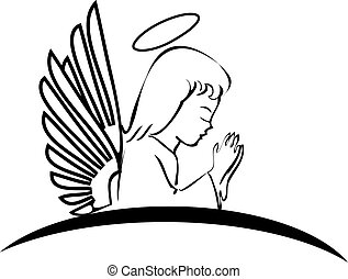 logotipo, pregare, angelo, creativo