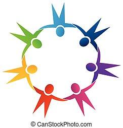 logotipo, presa, lavoro squadra, mani