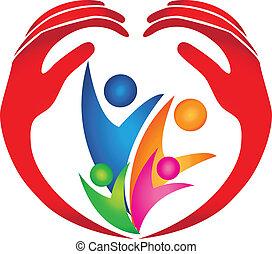 logotipo, protetto, famiglia, mani