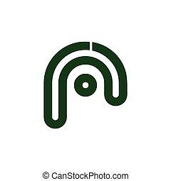 logotipo, r, zebrato, lettera, linea, vettore, puntino