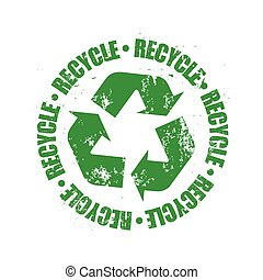 logotipo, riciclare, grunge, vettore