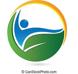 logotipo, salute, wellness, vita