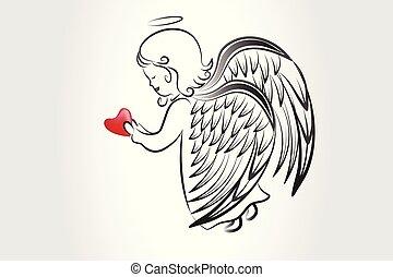 logotipo, schizzo, amore, icona, cuore, pregare, vettore, immagine, grafica, angelo