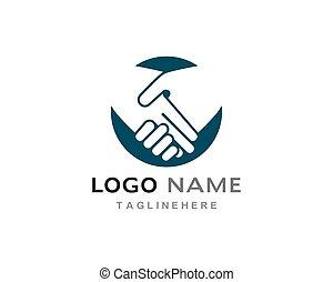 logotipo, scossa mano